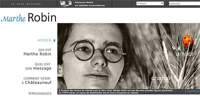 Schermafbeelding van de Marthe Robin website